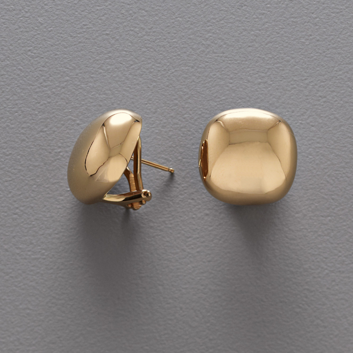 Polished Gold Square Earrings