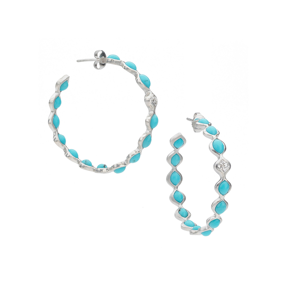 Elizabeth Showers Turquoise & White Sapphire Simone Hoop Earrings
