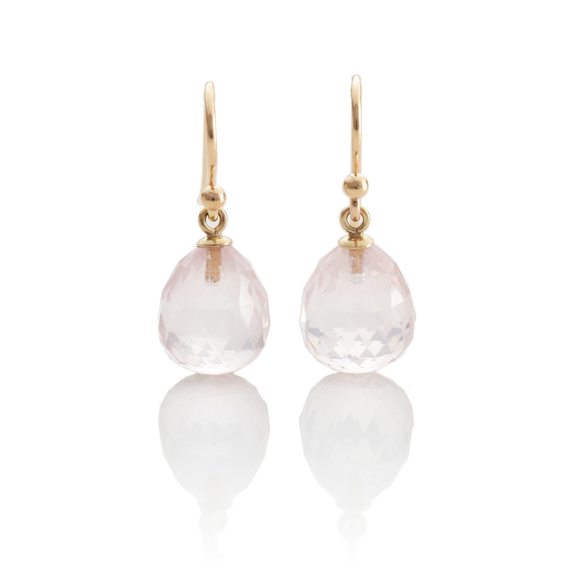 Gump's Rose Quartz Faceted Drop Earrings