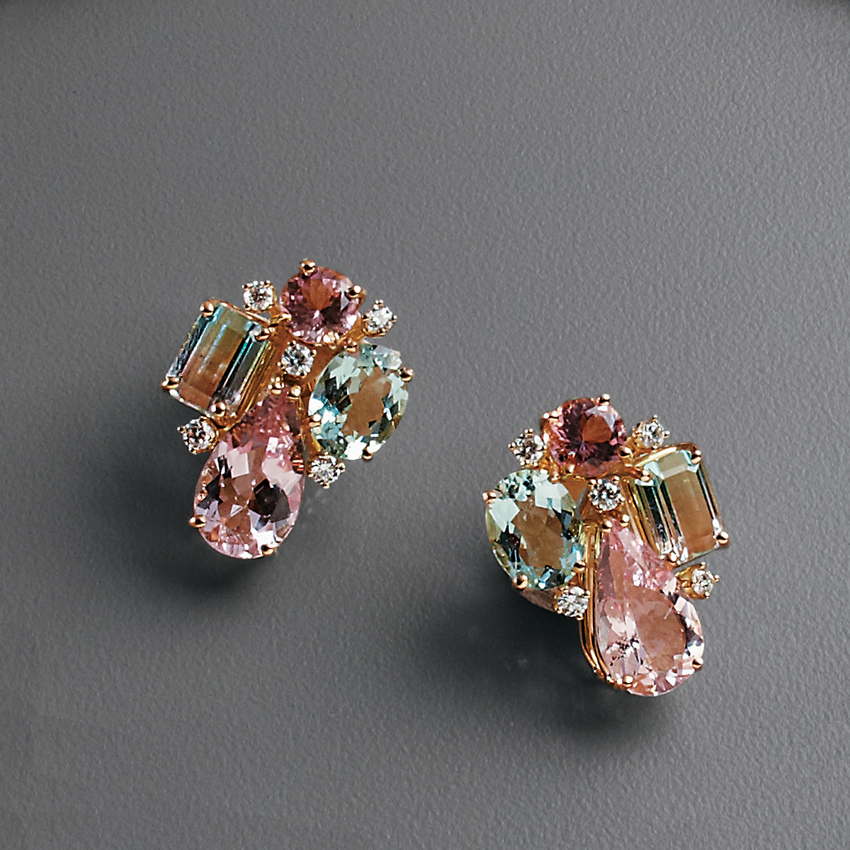 Gump's Pastel Beryl & Tourmaline Earrings