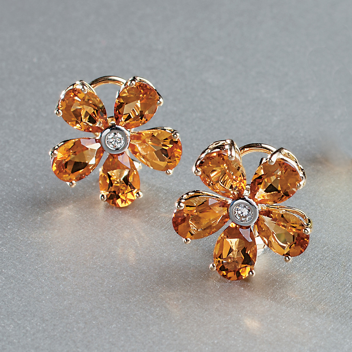 Aaron Henry Citrine Flower Earrings