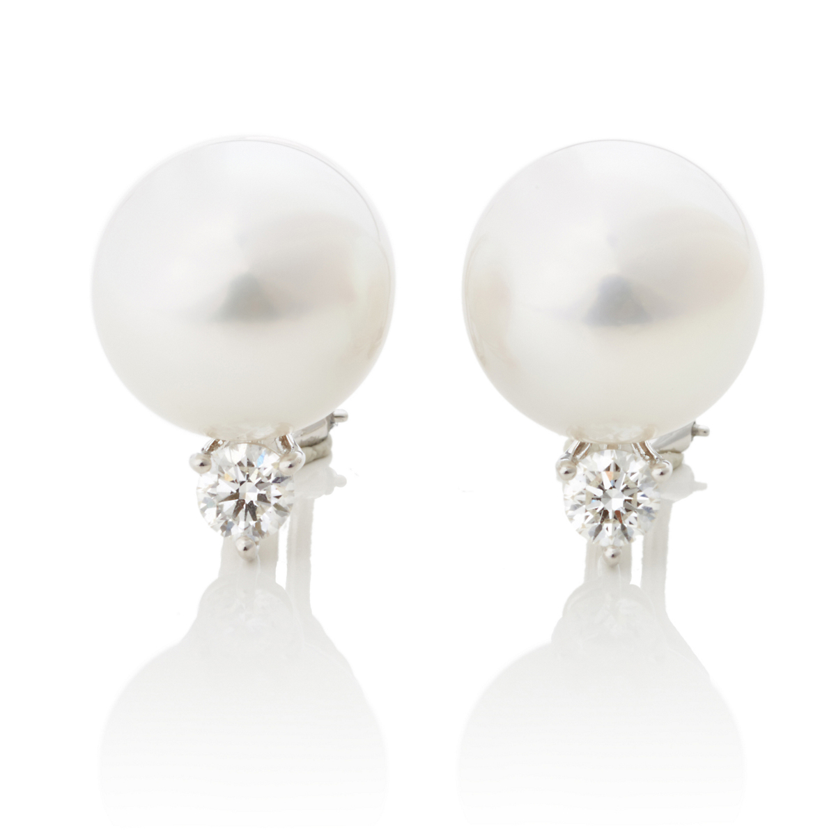 Gump's White South Sea Pearl Earrings With Brilliant Cut Diamonds
