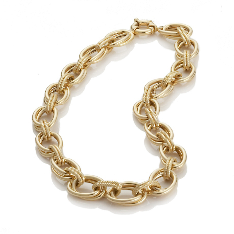 Double Oval Link Gold Necklace