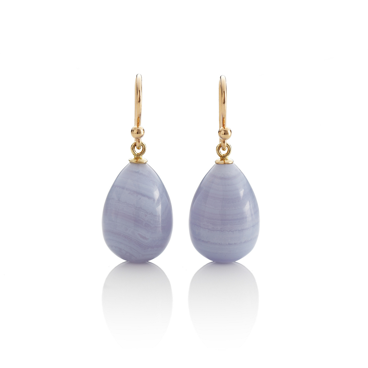 Gump's Blue Lace Agate & Gold Drop Earrings