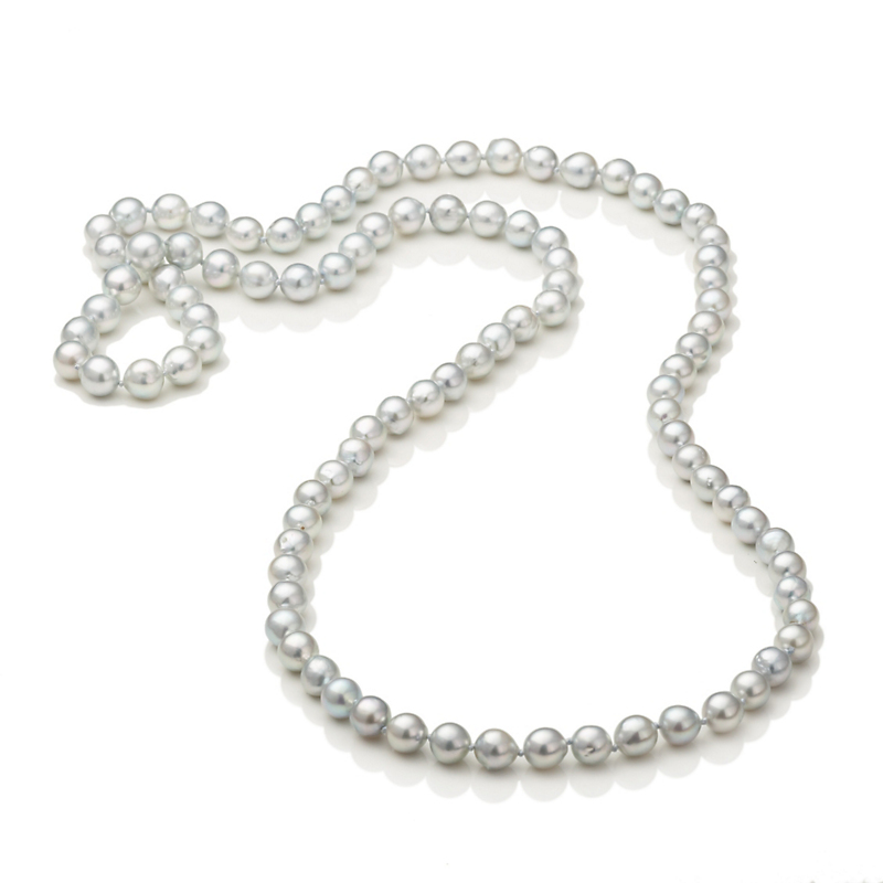 Gump's Blue Akoya Pearl Rope Necklace