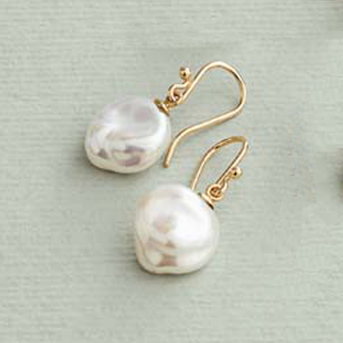 Gump's Flake Pearl Drop Earrings