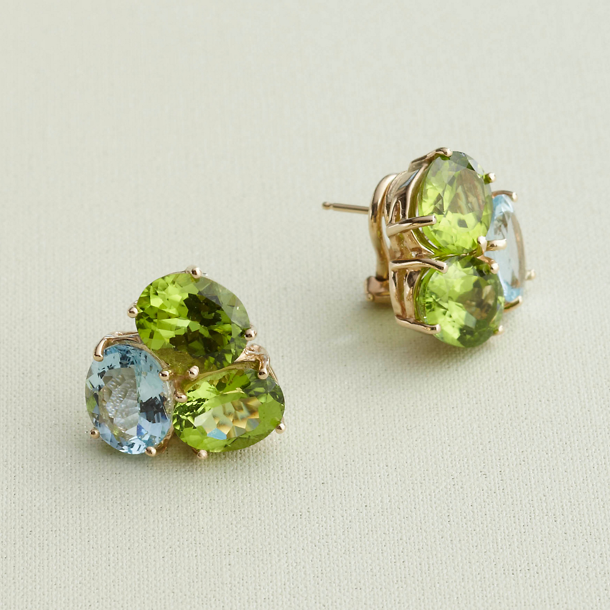 Peridot & Aquamarine Cluster Earrings