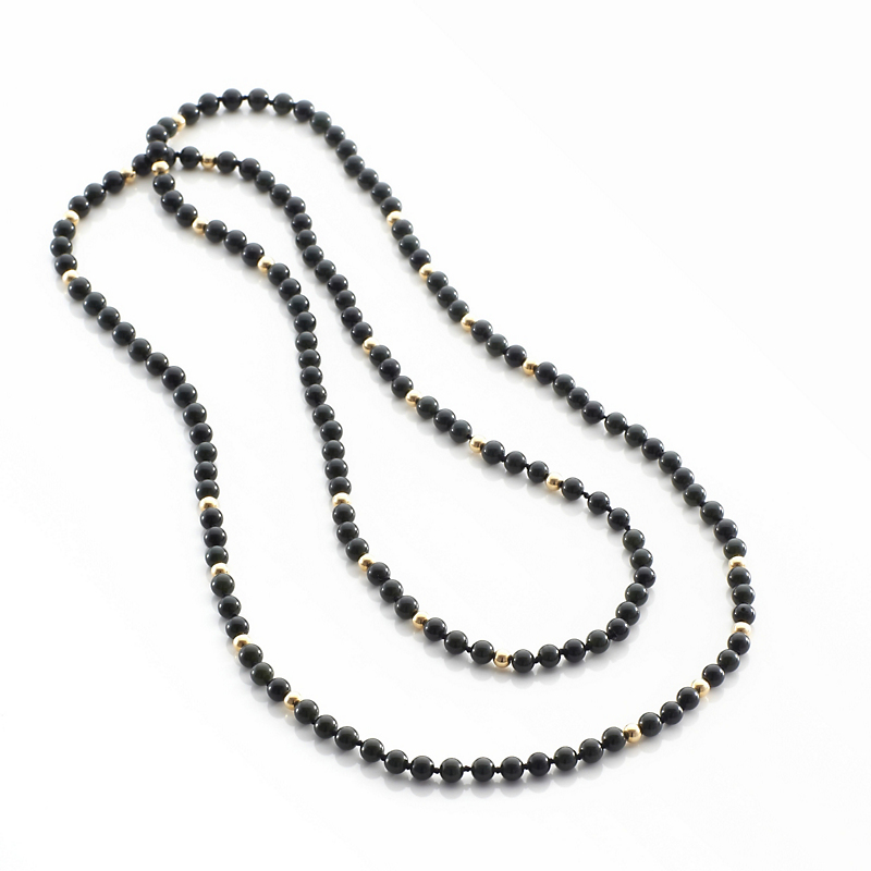 Gump's Black Jade & Gold Rope Necklace, 5mm
