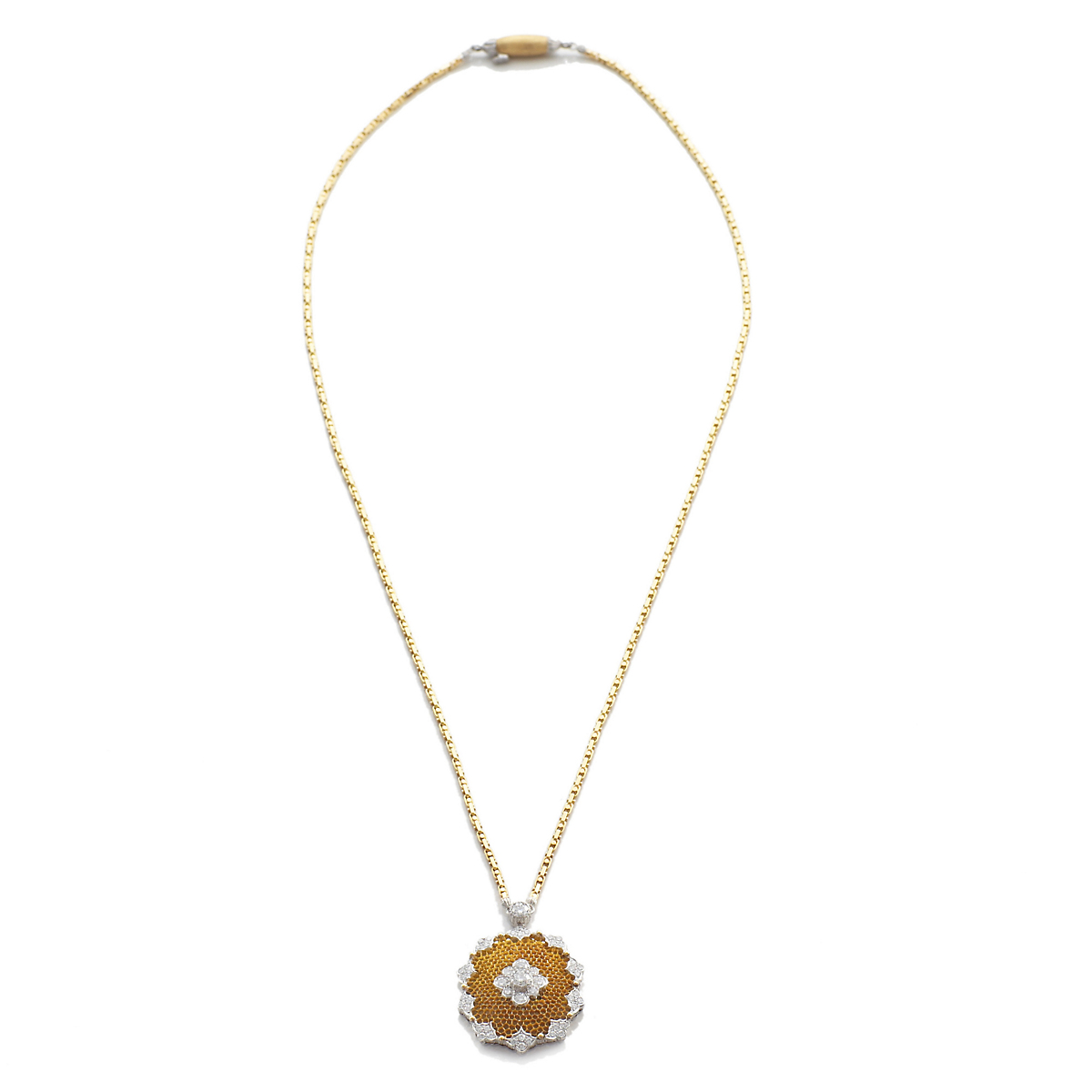 Buccellati Diamond & Gold Honeycomb Necklace