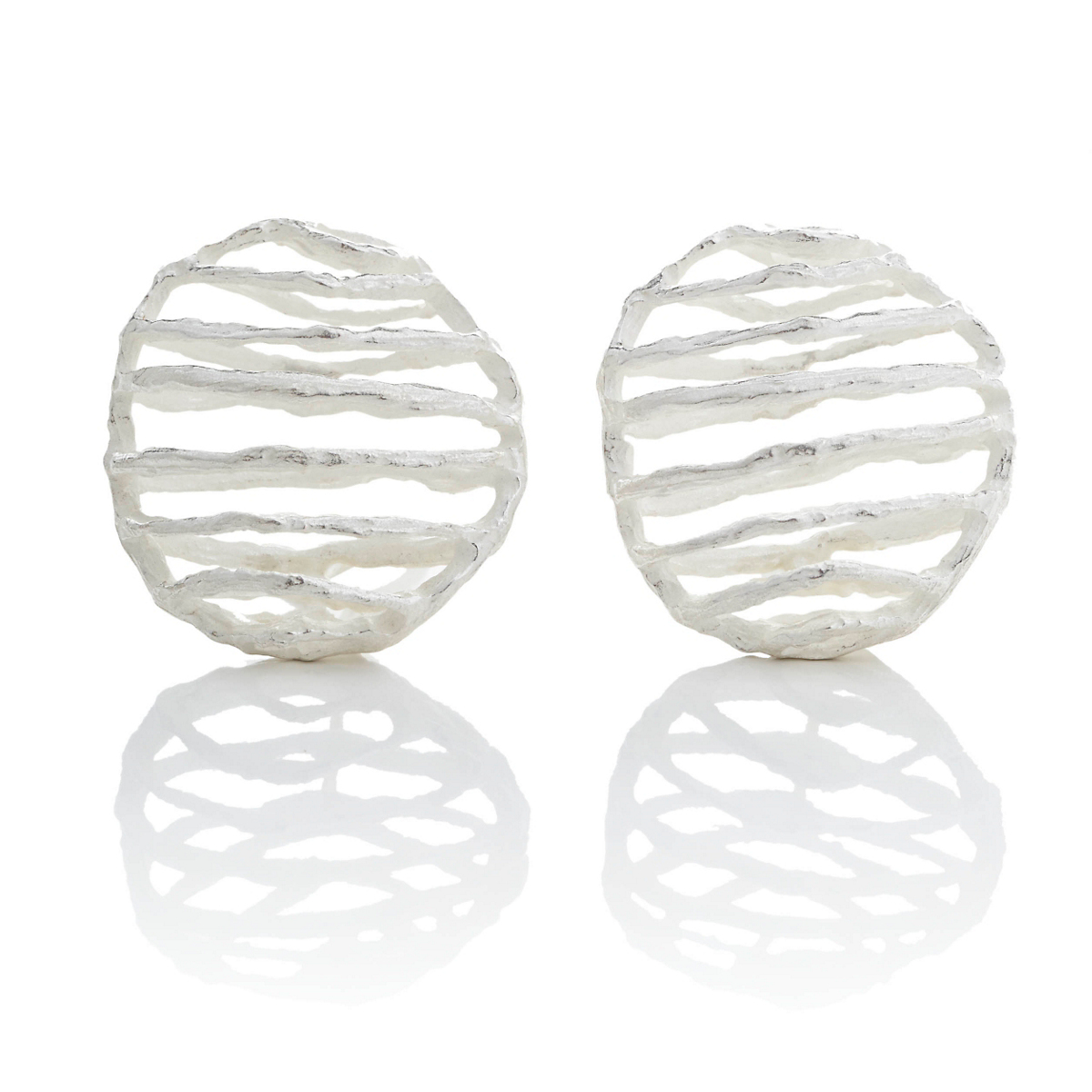 John Iversen Small Sterling Silver Basket Earrings