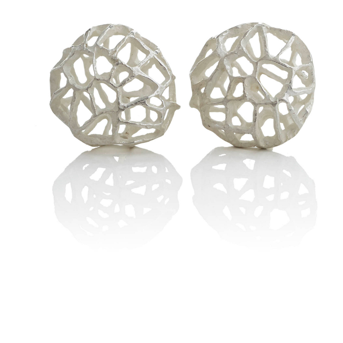 John Iversen Small Sterling Silver Korb Earrings
