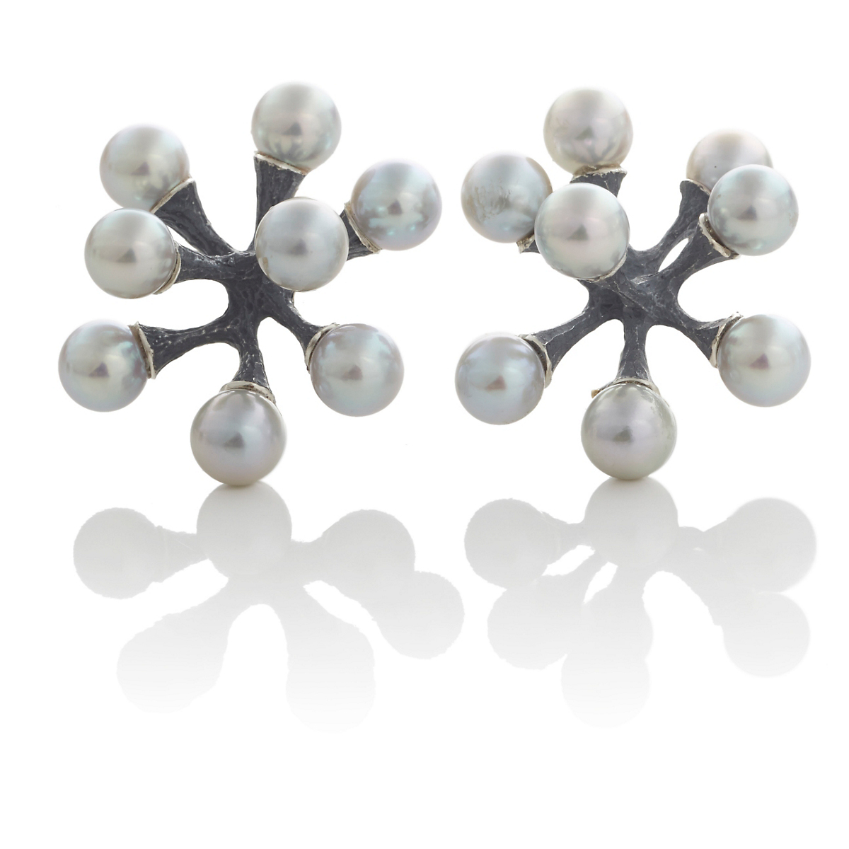 John Iversen Oxidized Silver Gray Akoya Pearl Jack Earrings
