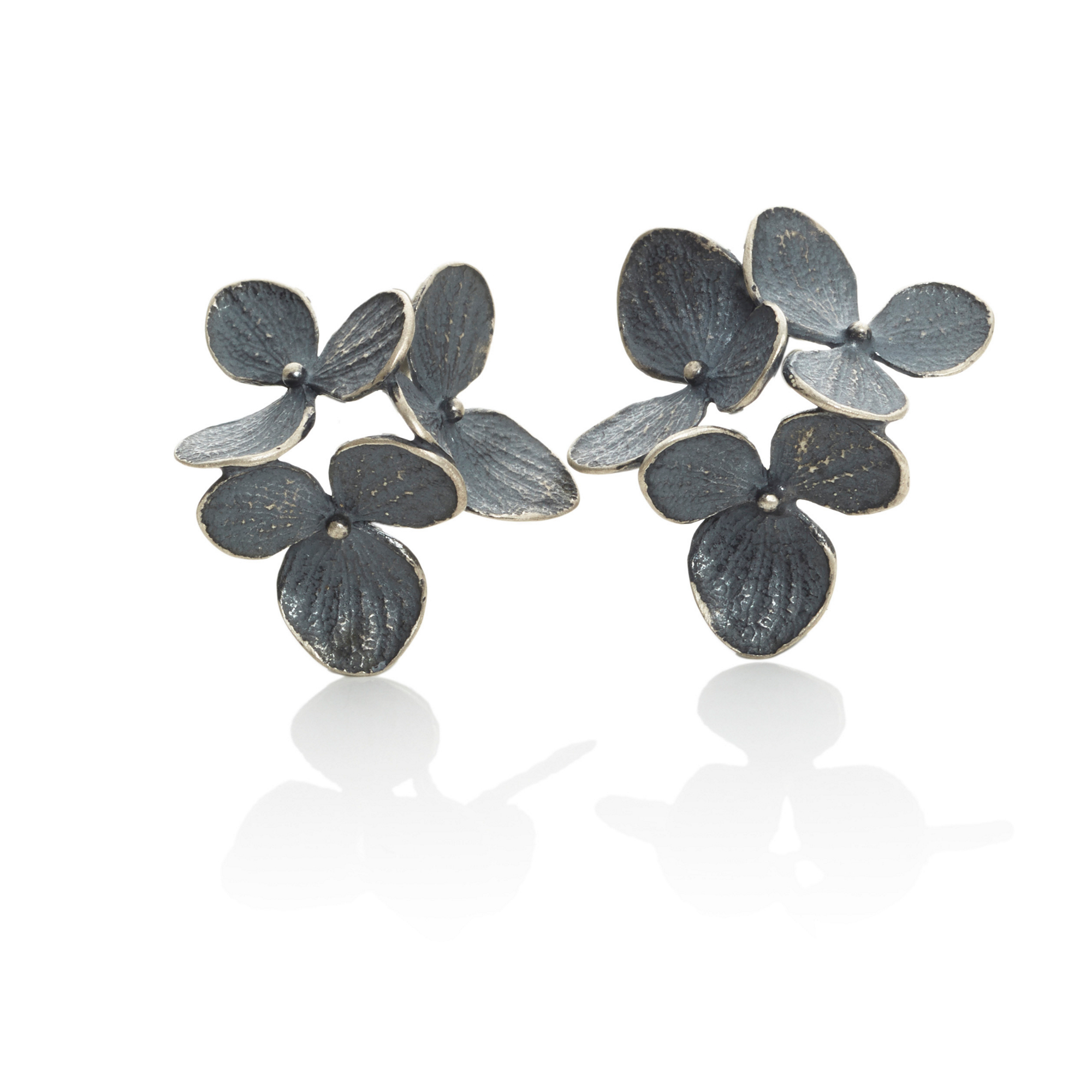 John Iversen Large Oxidized Silver Three Hydrangea Earrings