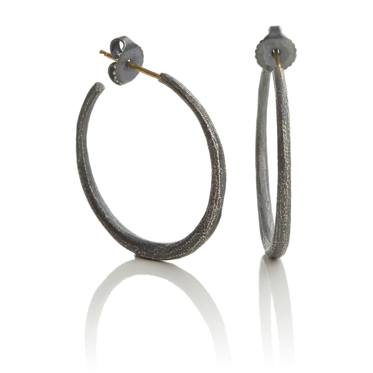 John Iversen Oxidized Silver Textured Hoop Earrings