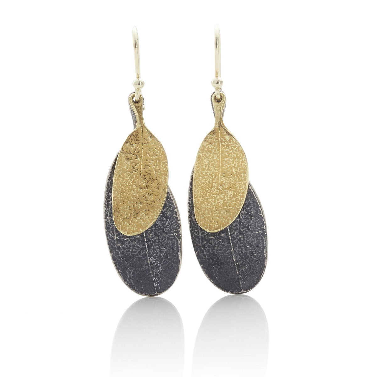 John Iversen Oxidized Silver & Gold Double Leaf Earrings
