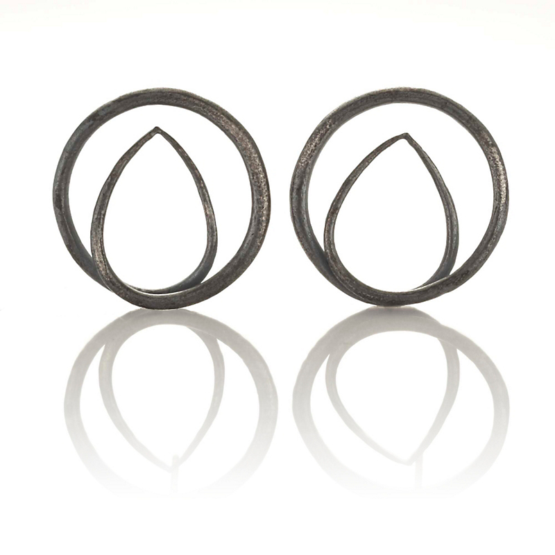 John Iversen Oxidized Silver Swirl Earrings