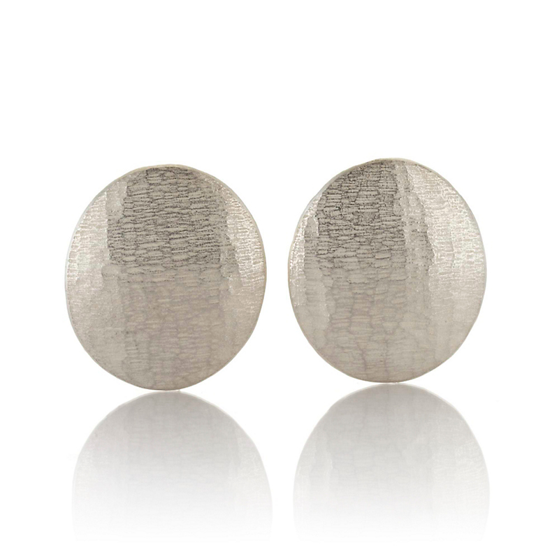 John Iversen Large Sterling Silver Textured Oval Earrings