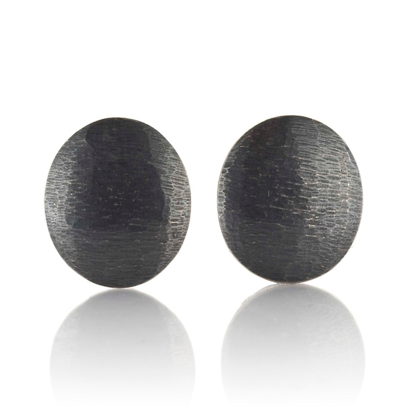 John Iversen Large Oxidized Silver Textured Oval Earrings