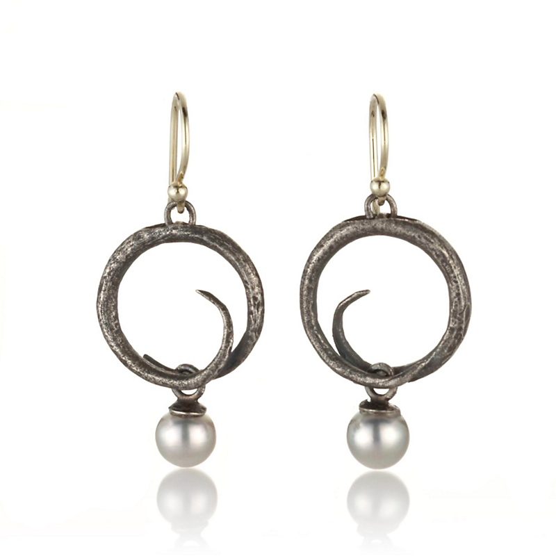 John Iversen Oxidized Silver Baby Swirl & Akoya Pearl Drop Earrings