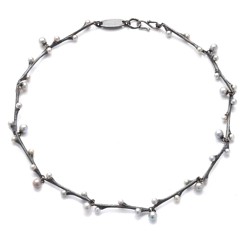 John Iversen Gray Akoya Pearl & Silver Willow Necklace