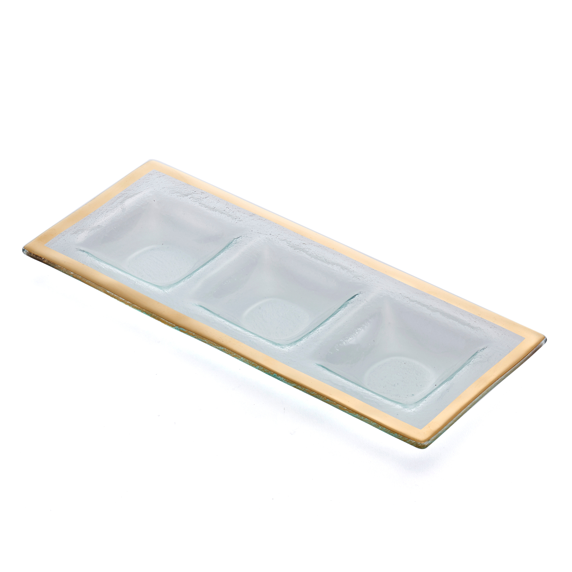 Annieglass Roman Antique 3-Section Tray, Gold