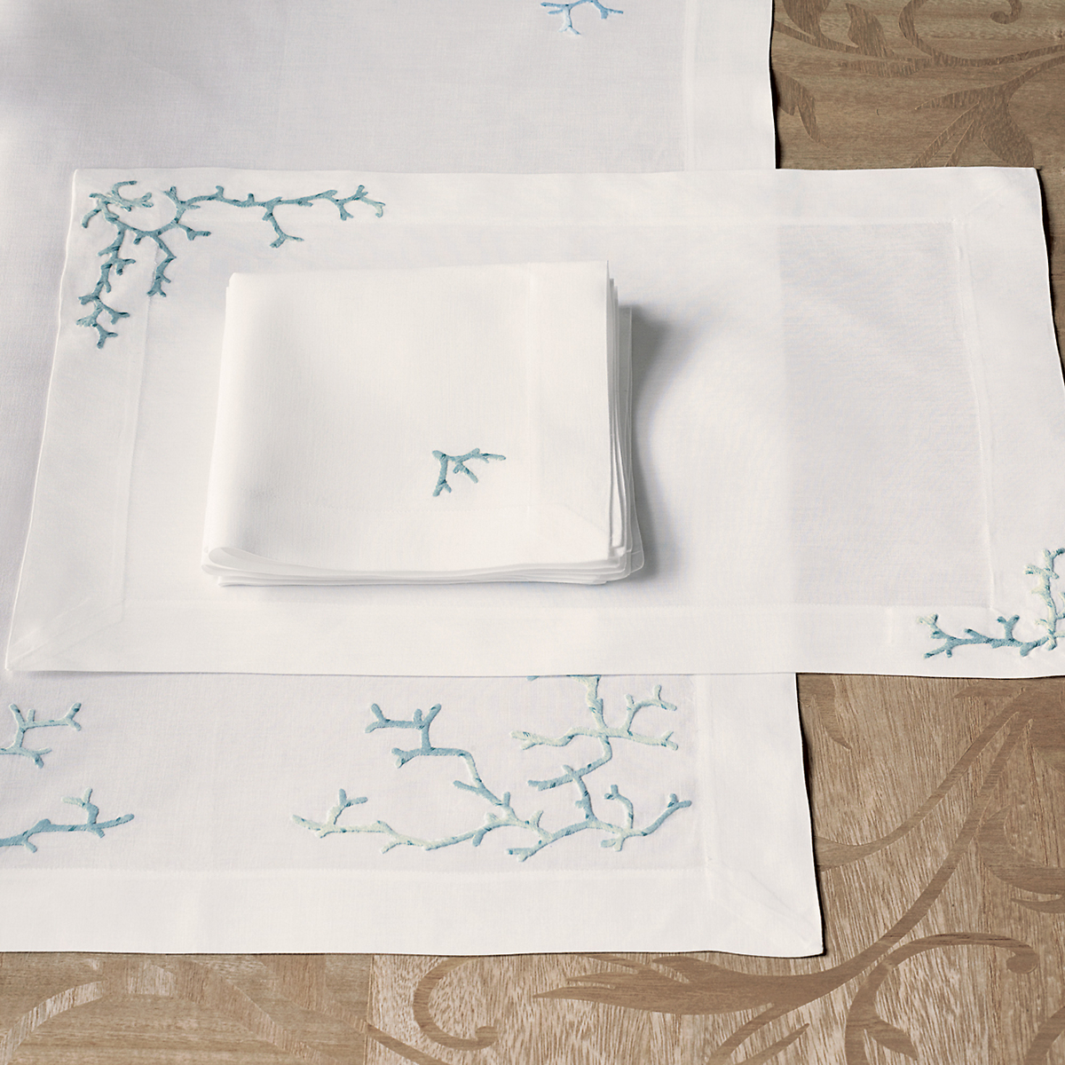 Embroidered Coral Table Linens