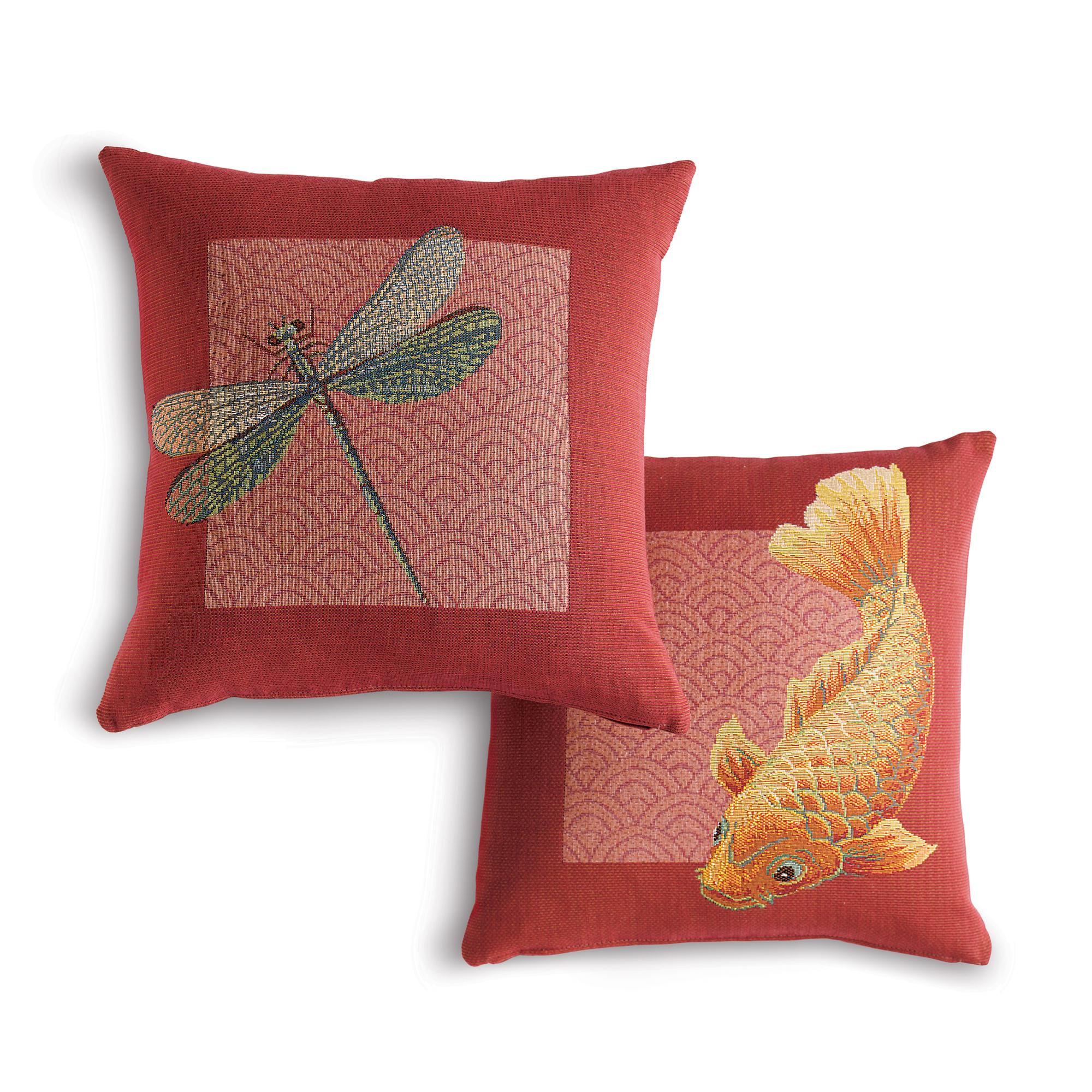 Throw Pillows Home : Dragonfly & Koi Pillows Gump s