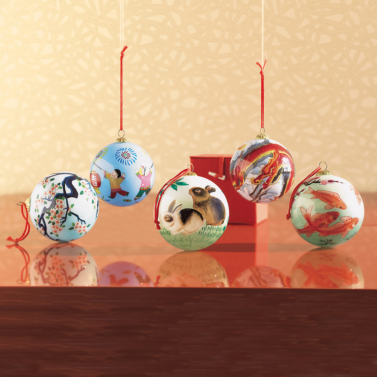 Handpainted Asian Glass Ornaments