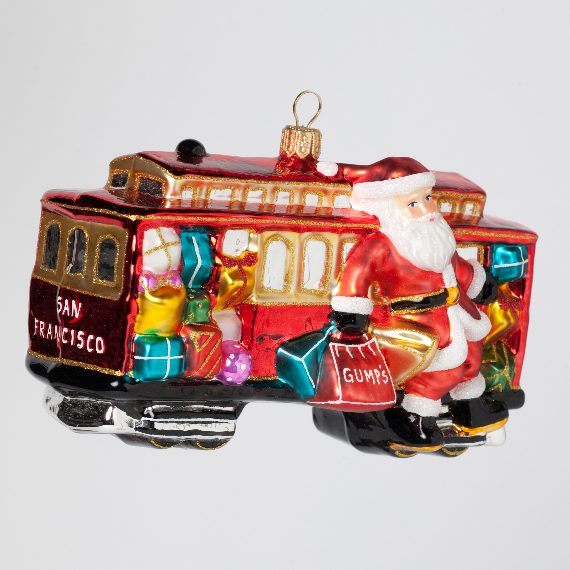 San Francisco Cable Car Santa Christmas Ornament