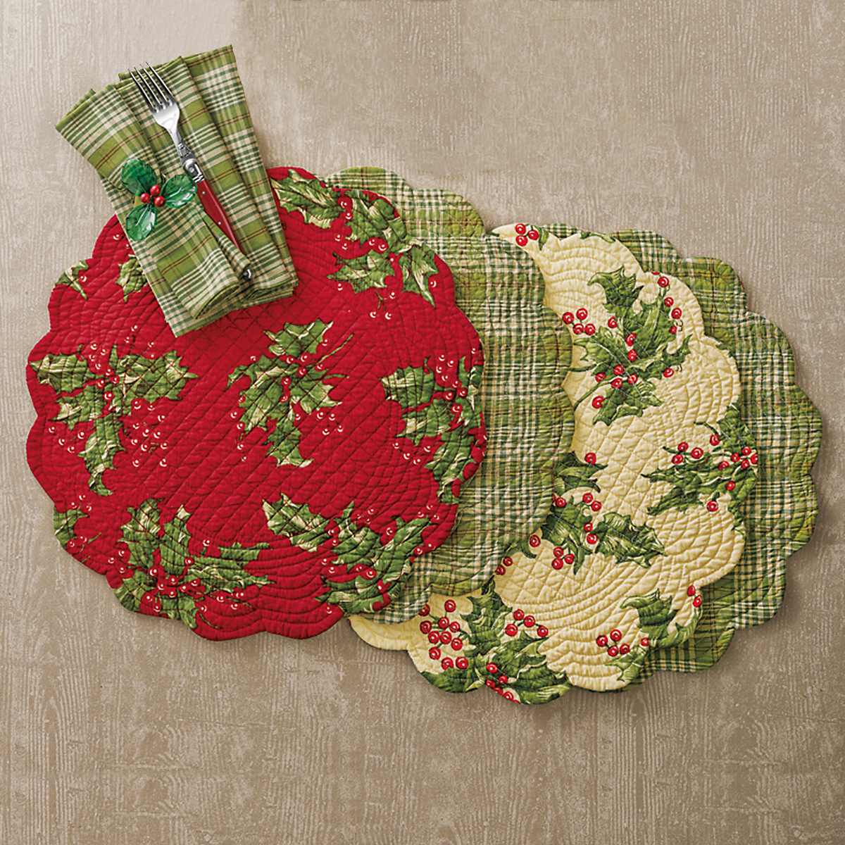 April Cornell Reversible Holly Table Linens