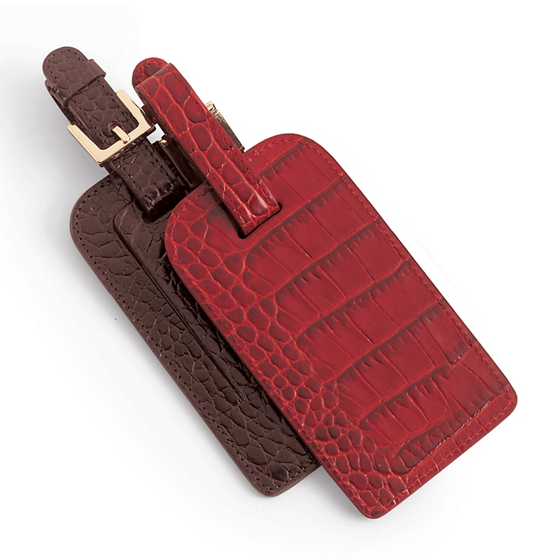 Faux Croc Luggage Tag