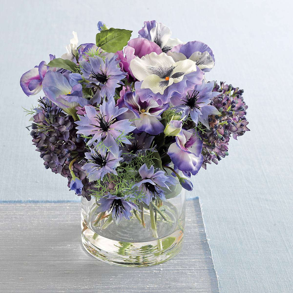 Silk Blend Pansy Anemone Arrangement