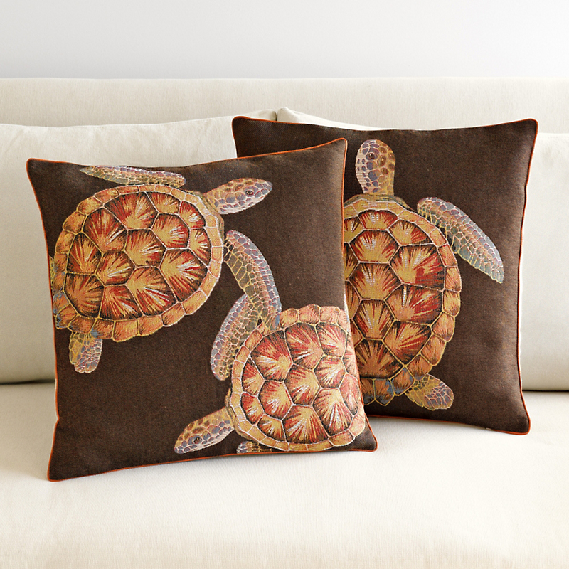 French Jacquard Turtle Pillows, Brown