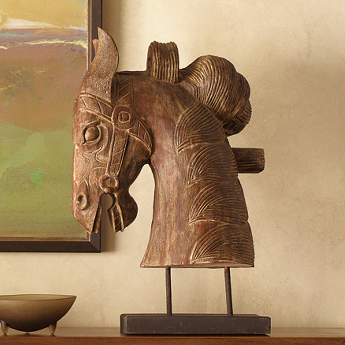 Wood-Carved Horse Head