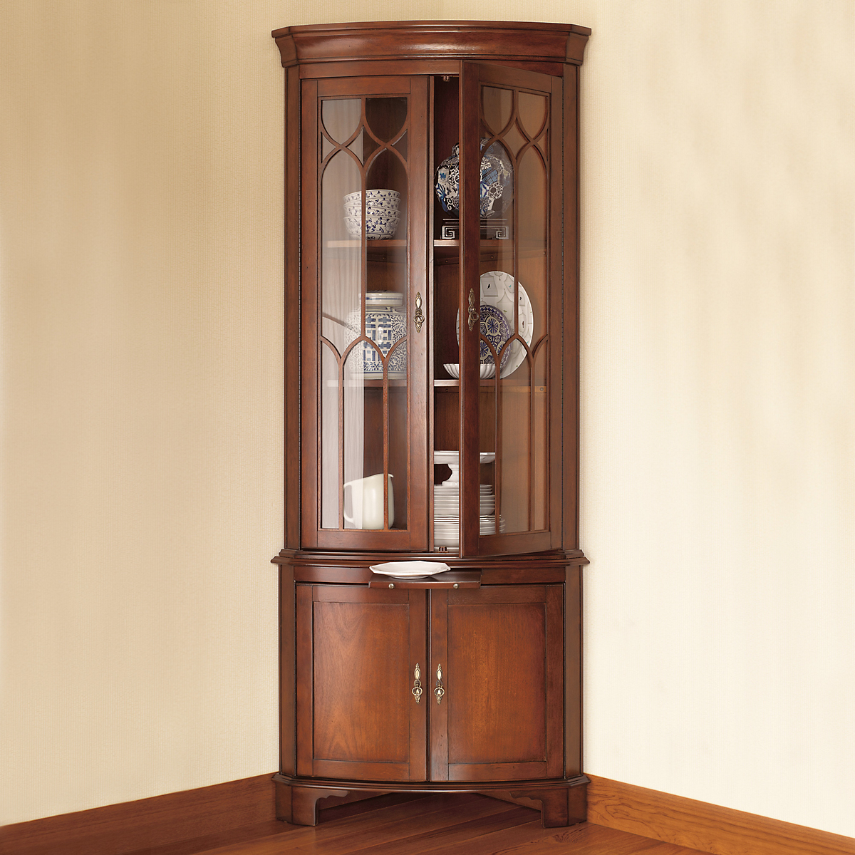 Bow Front Corner Cabinet