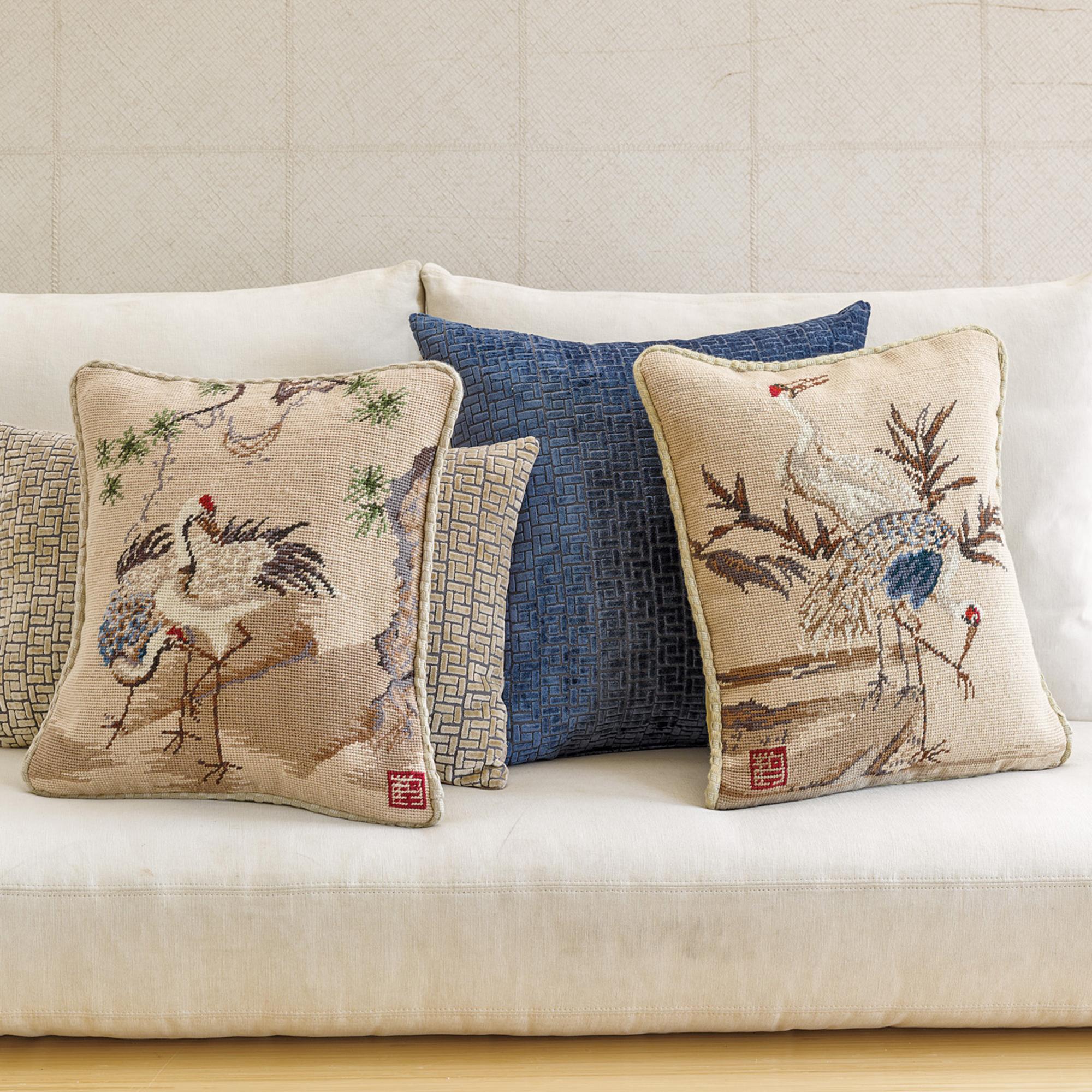 Throw Pillows Home : Needlepoint Crane Pillows Gump s