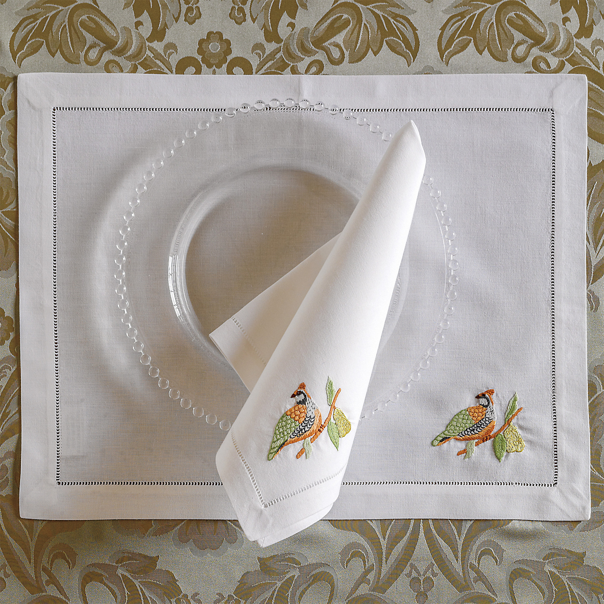 Embroidered Partridge Table Linens