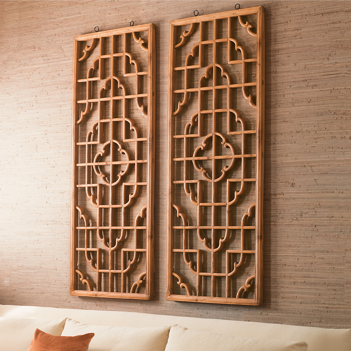 Carved openwork wood panel gump s