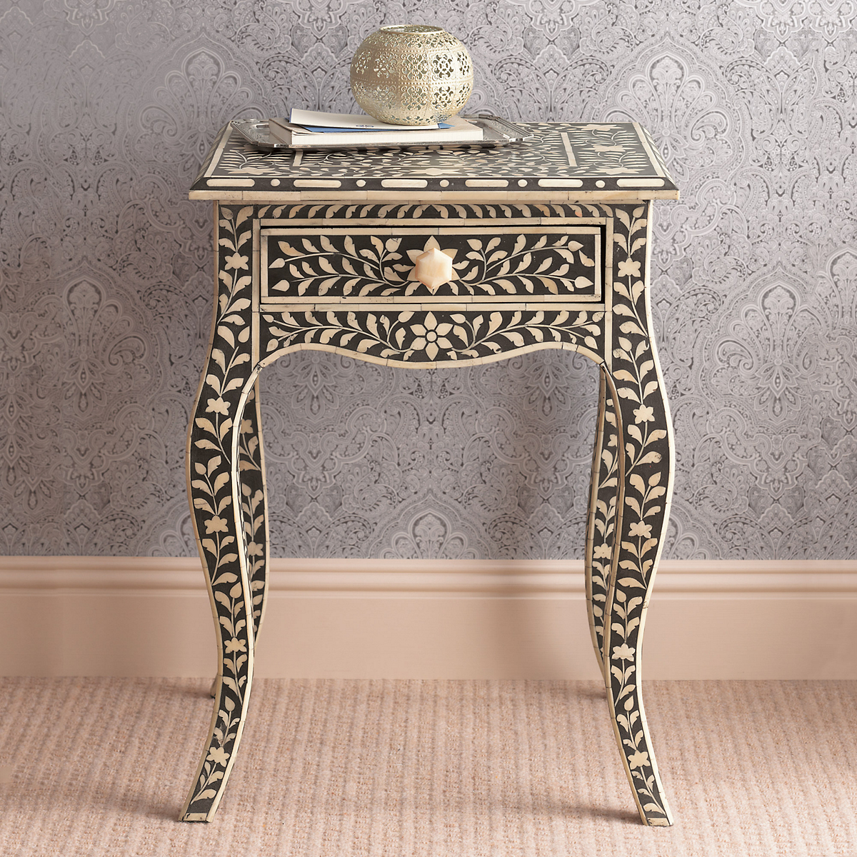 Inlaid Bone Side Table