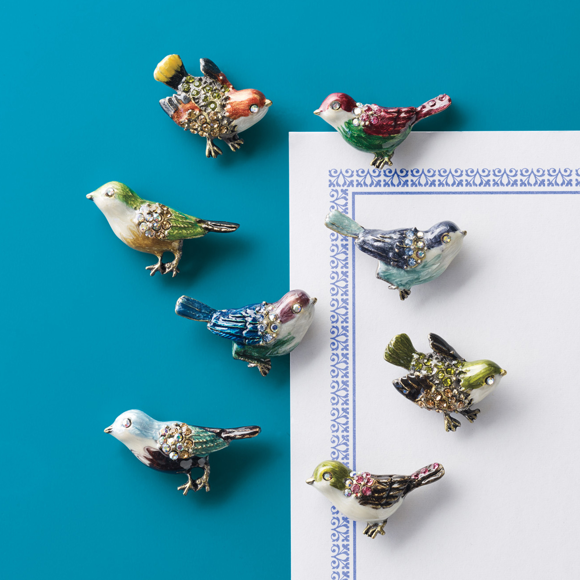 Jeweled Bird Magnets, Set of 8