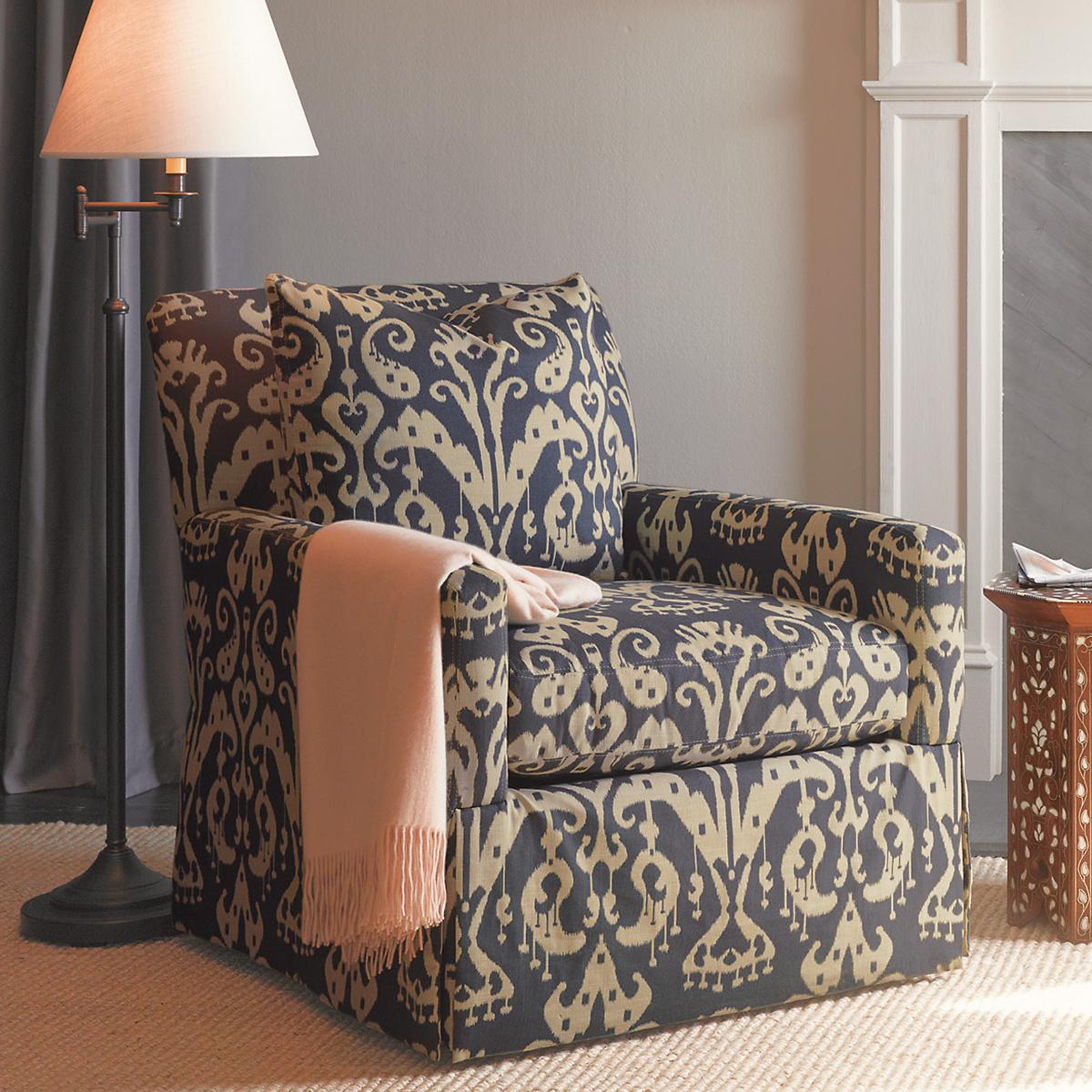 miranda swivel glider chair & ottoman, blue ikat | gump's