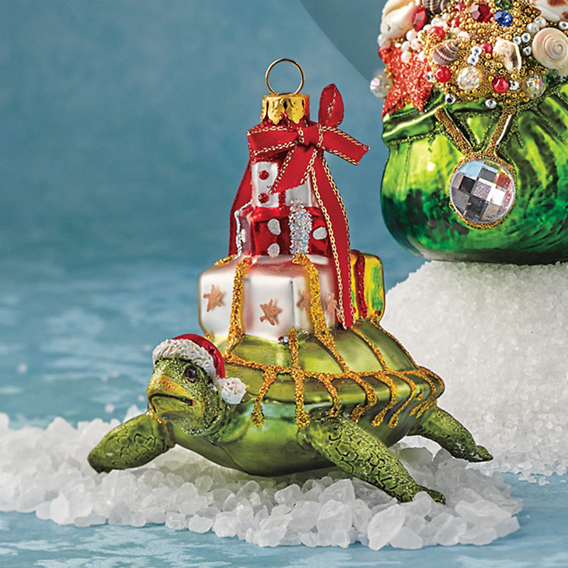 Turtle With Gifts Christmas Ornament