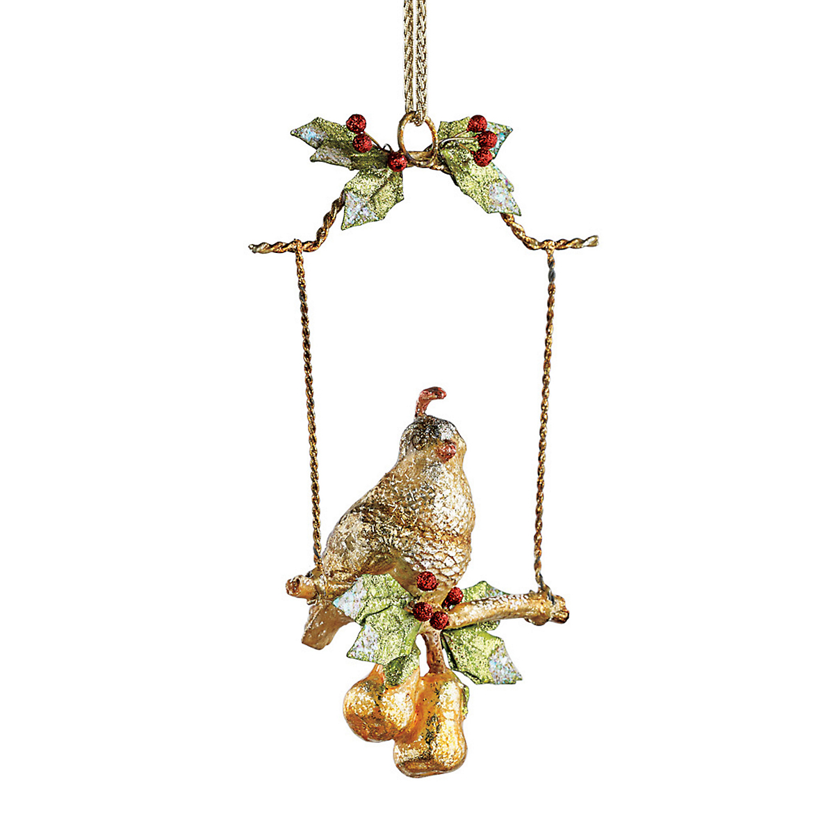 Partridge On Swing Christmas Ornament