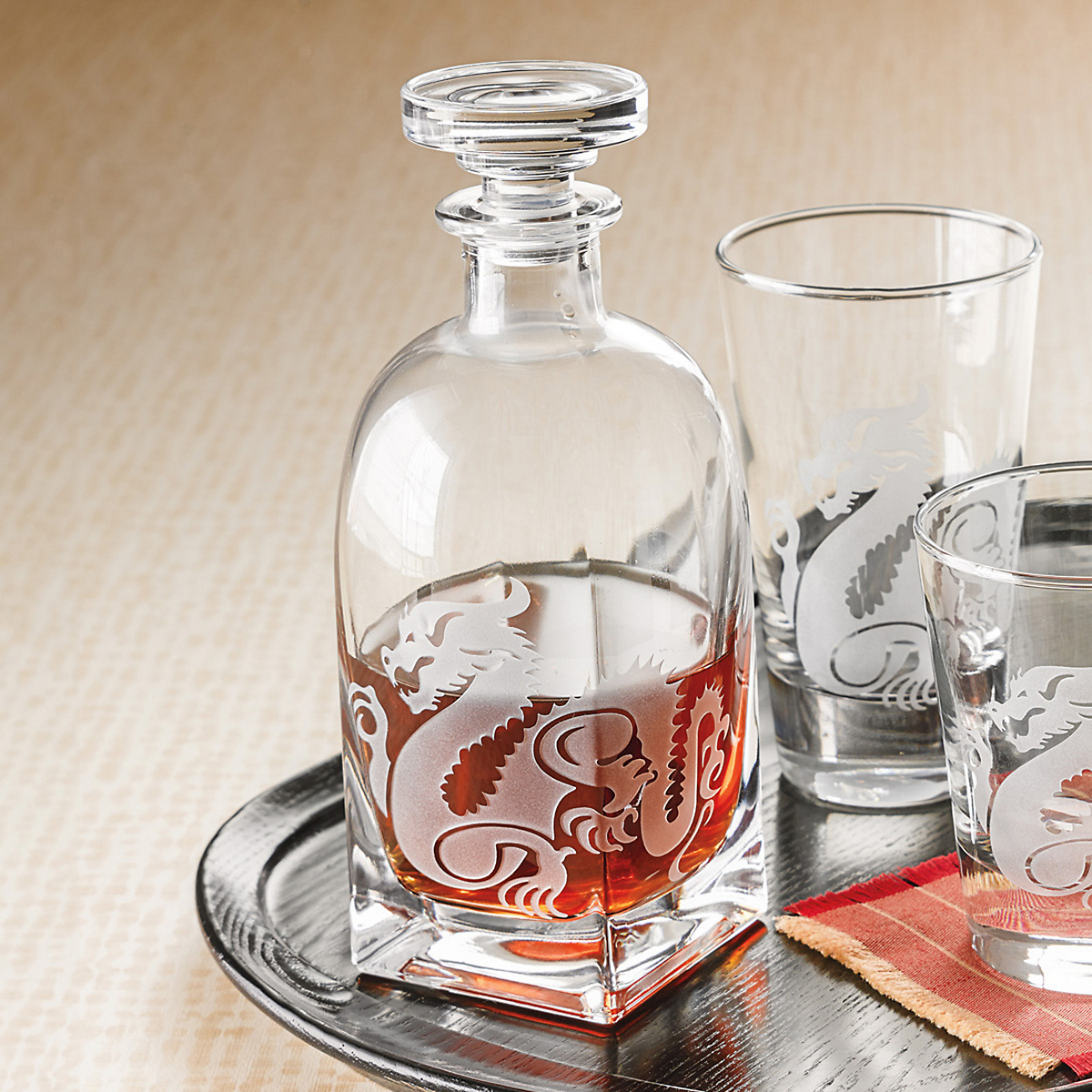 Dragon Etched Barware