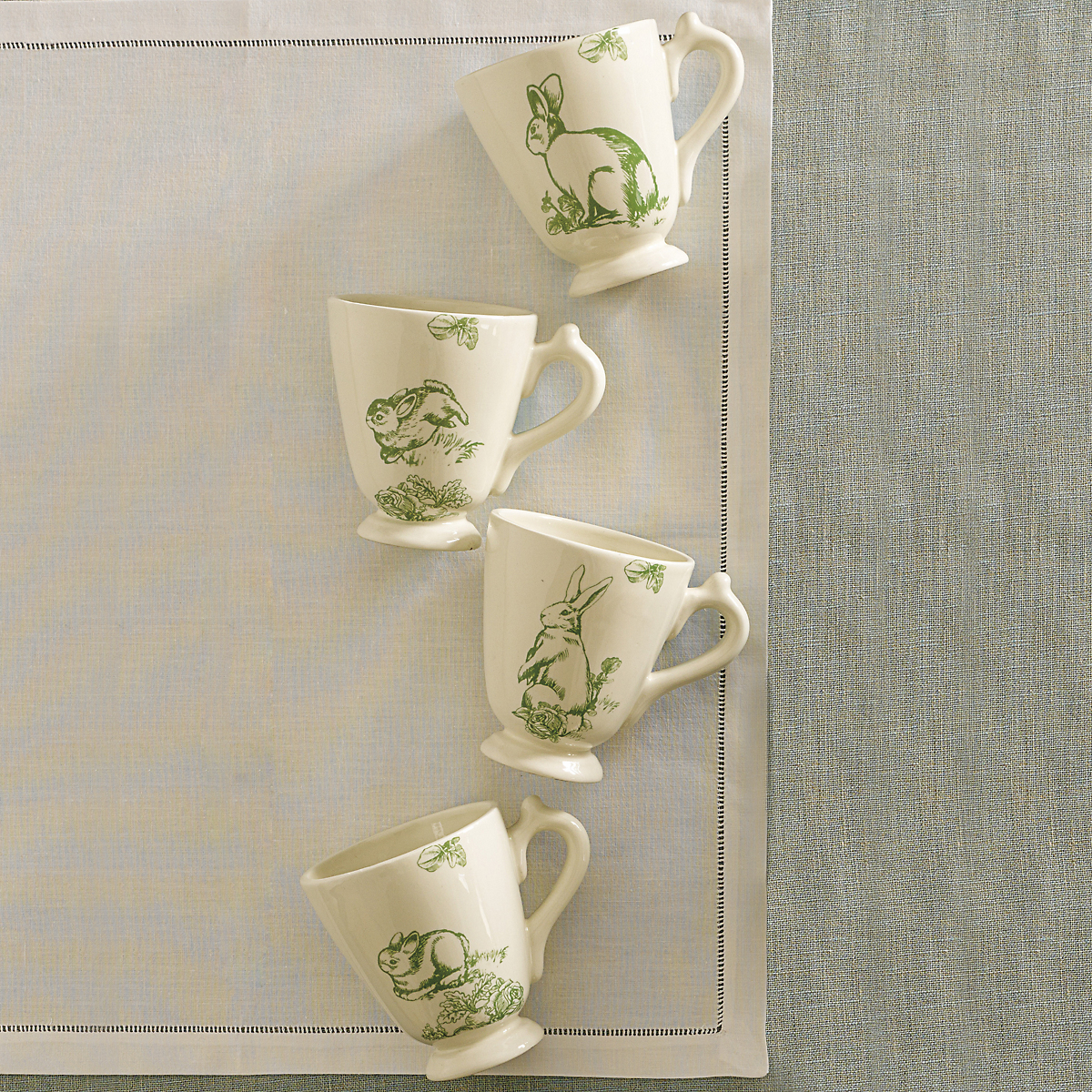 Garden Rabbit Mugs, Set of 4