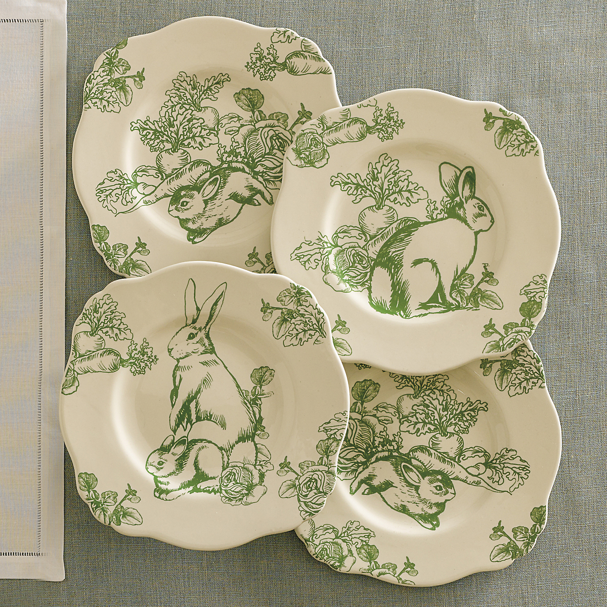 Garden Rabbit Plates, Set of 4