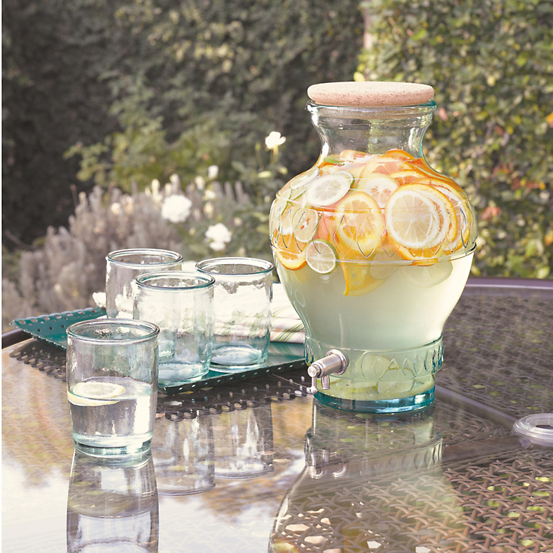 Italian Recycled Glass Dispenser & Tumblers