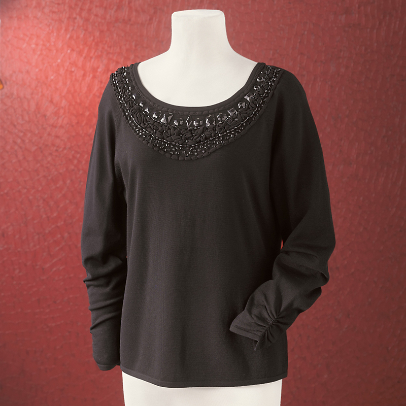 Jeweled Neckline Top