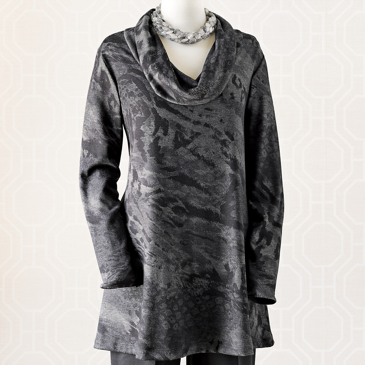 Animal Print Cowlneck Tunic