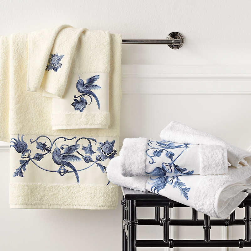 Blue Nightingale Embroidered Towels